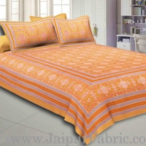 Brown Border Brown Base Mandana Print Cotton Double Bed Sheet