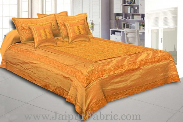 Golden Rajasthani Zari Embroidered Lace Work Silk Double Bed Sheet