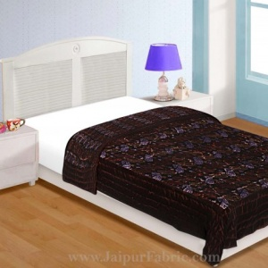 Velvet Cloth Single Bed Quilt Jaipuri Razai Paisley Brown Shaneel Rajai by Jaipur Fabric