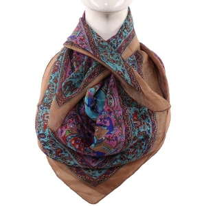 Silk Scarf brown Border Paisley Print