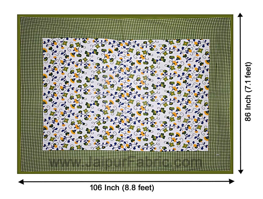 Floral Double Bedsheet Green Color Checkred Border With 2 Pillow Covers