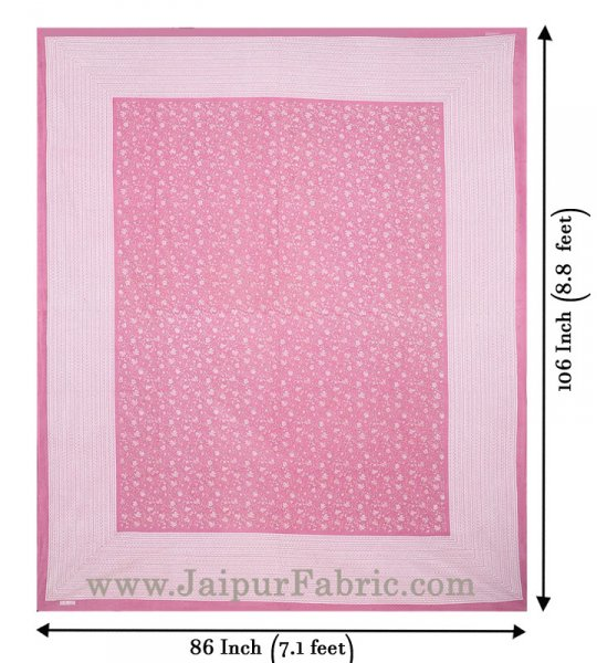 Floral Double Bedsheet Pink base with 2 Pillow Covers