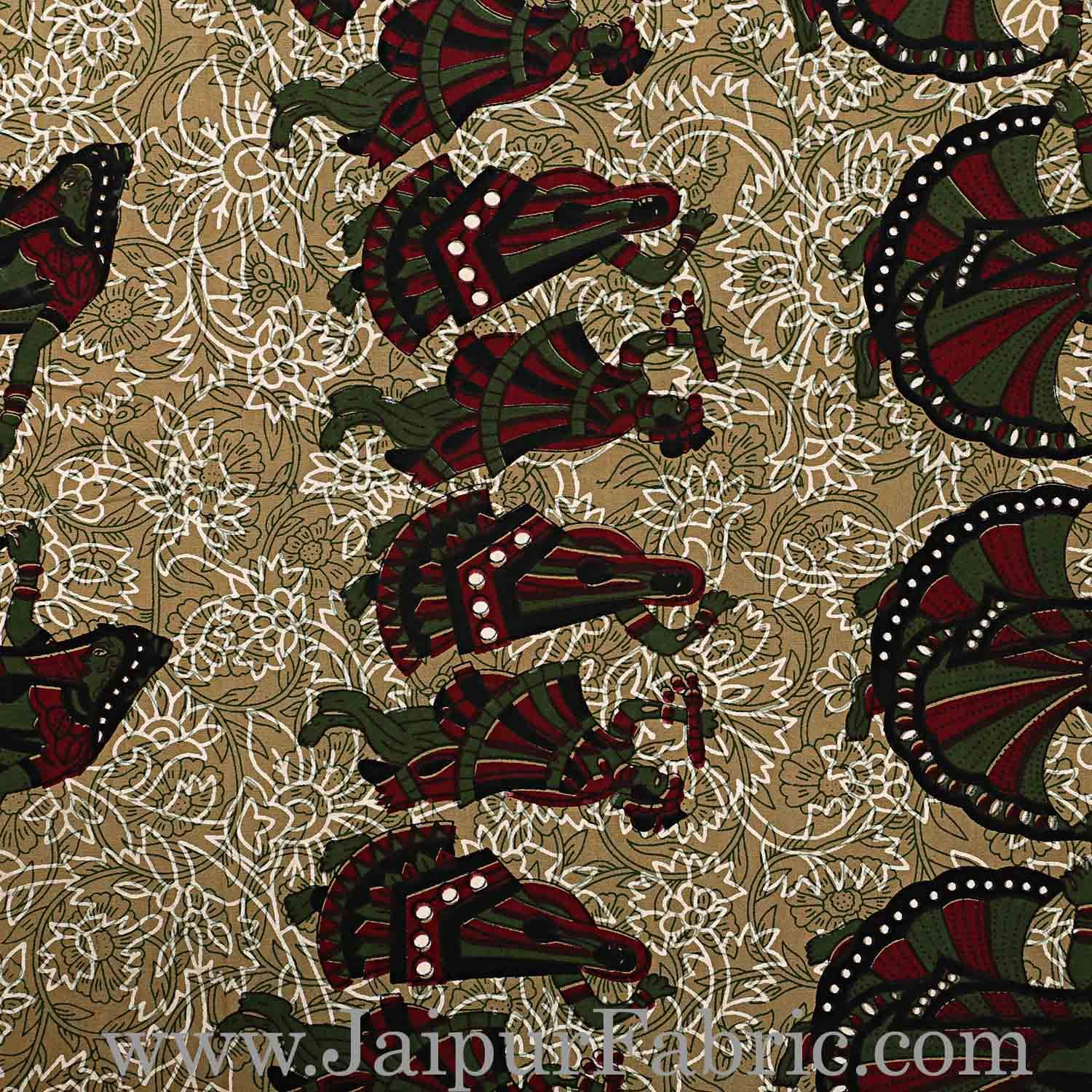 Double Bedsheet Dark Green Border Rajasthani Gujari Dance Print