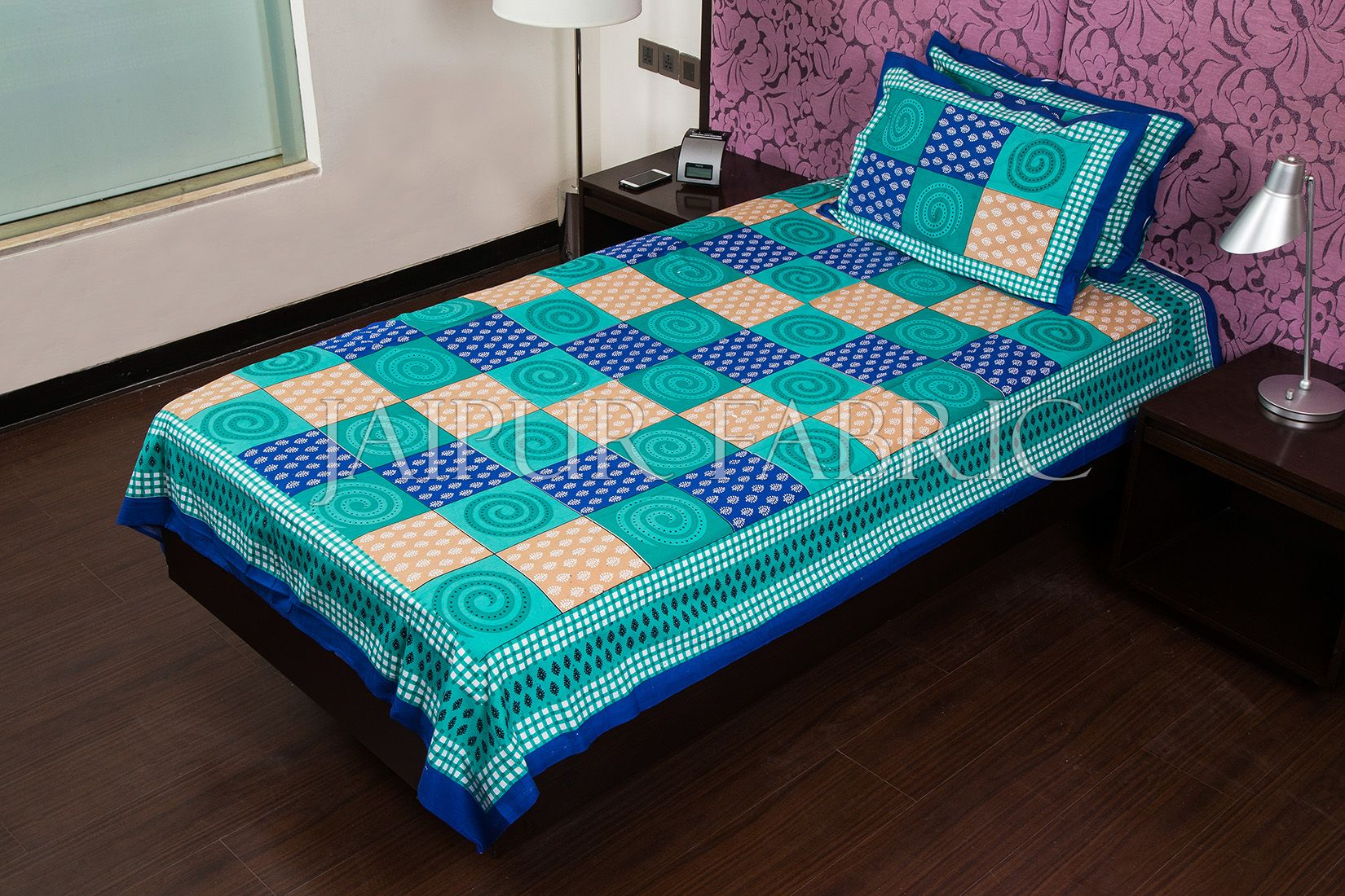 Blue Base Cyan Rangoli Print Cotton Single Bed Sheet