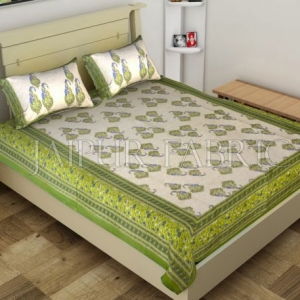 Green Border Boteh Printed Cotton Single Bed Sheet