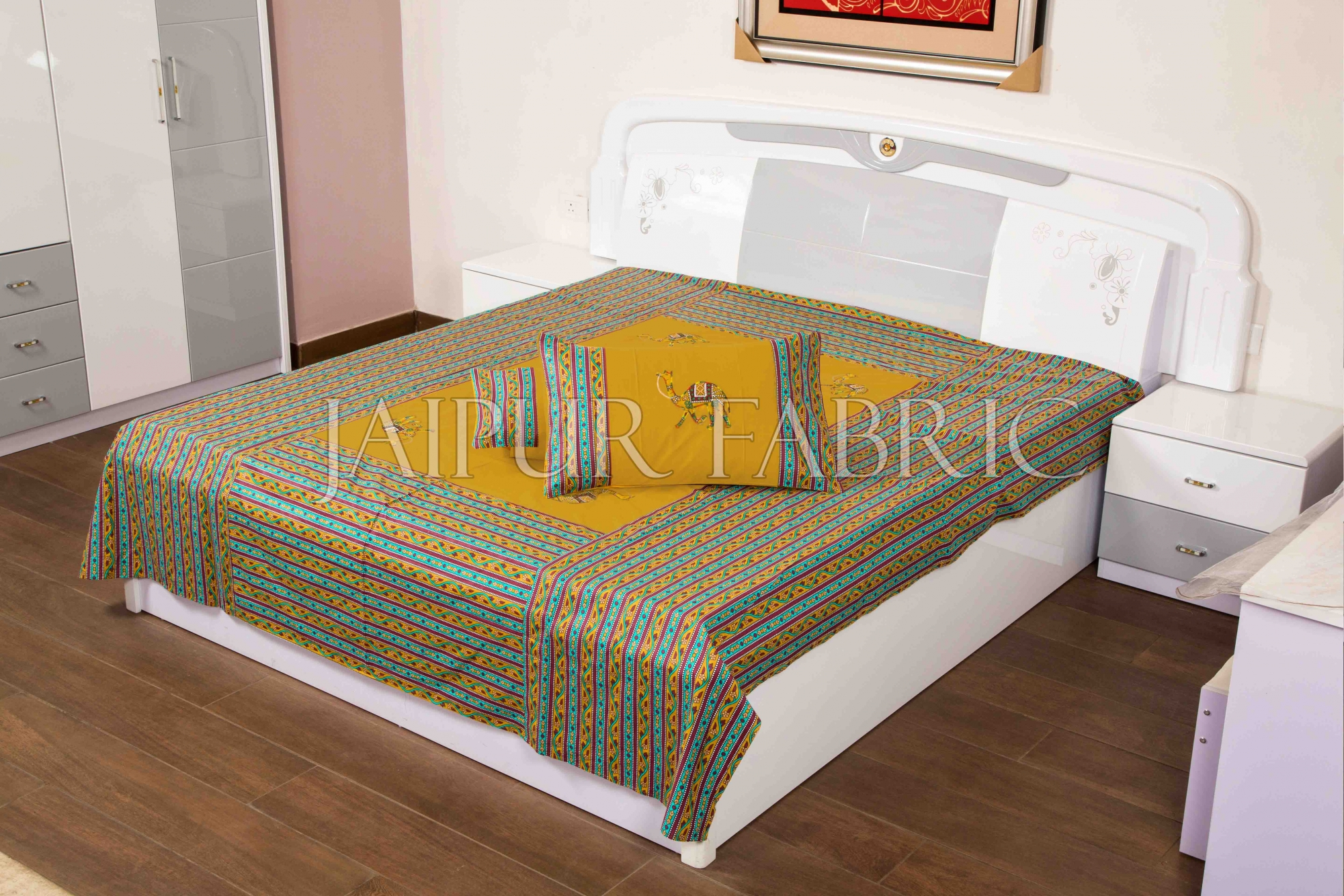 Beige Color Camel Embroidery Work Double Bed Sheet with Two Pillow Covers