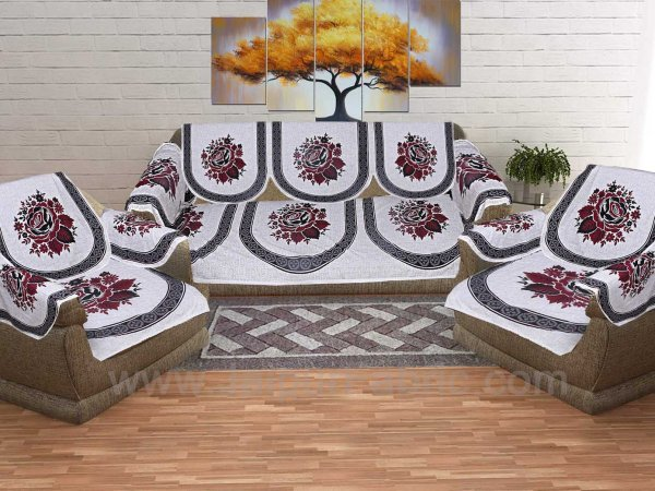 Wine Red Superfine Coton Rose Print Sofa Set Cover