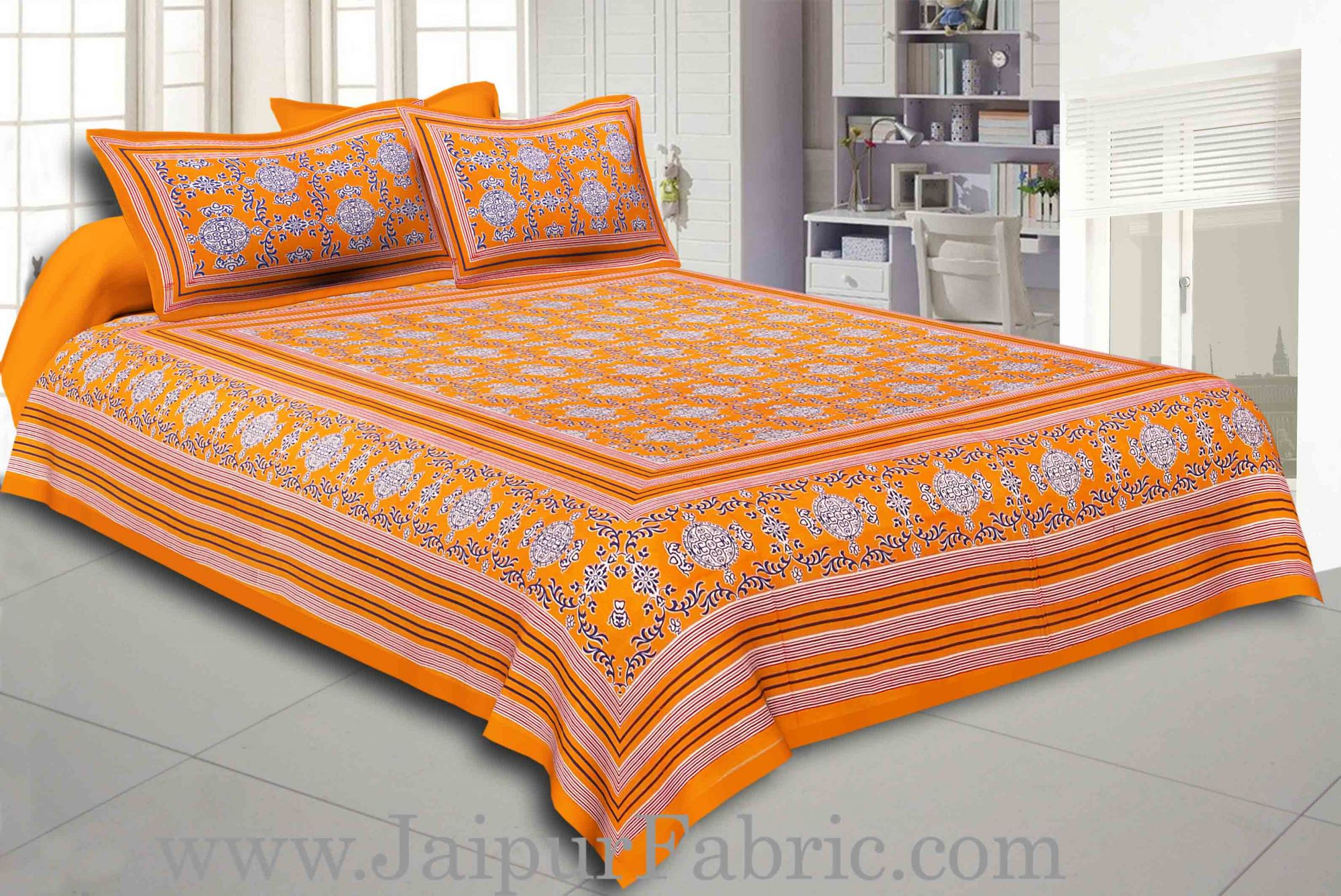 Yellow Border Yellow  Base Mandana Print Cotton Double Bed Sheet