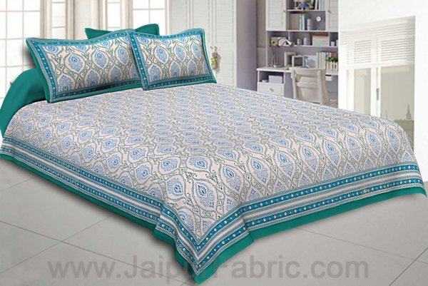 Double Bedsheet Rangoli Print Sea Green Border Fine Cotton