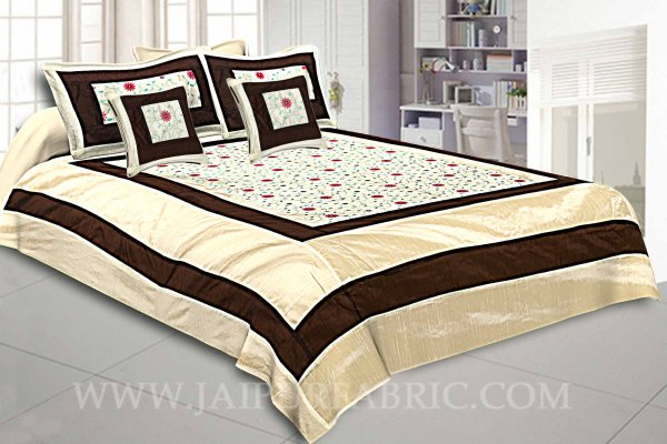 Light Brown Rajwada Silk Double Bedsheet
