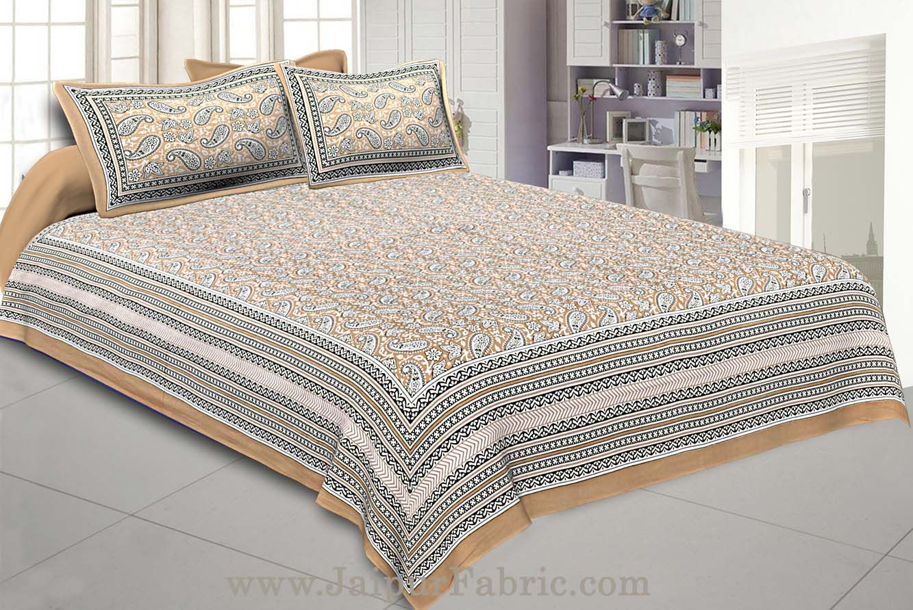 Paisley Double Bedsheet Brown border in super fine cotton with 2 Pillow Covers