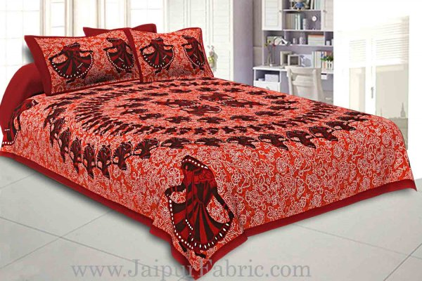 Double Bedsheet Dark Red Border Rajasthani Gujari Dance Print