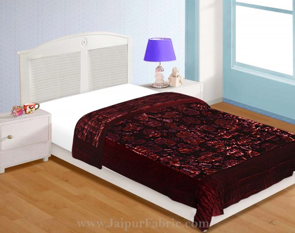 Velvet Cloth Single Bed Quilt Jaipuri Razai Dark Maroon Shaneel Rajai by Jaipur Fabric