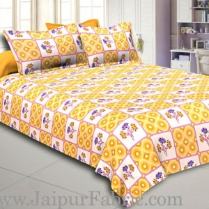 Brown Circle with Floral Print Cotton Double Bed Sheet
