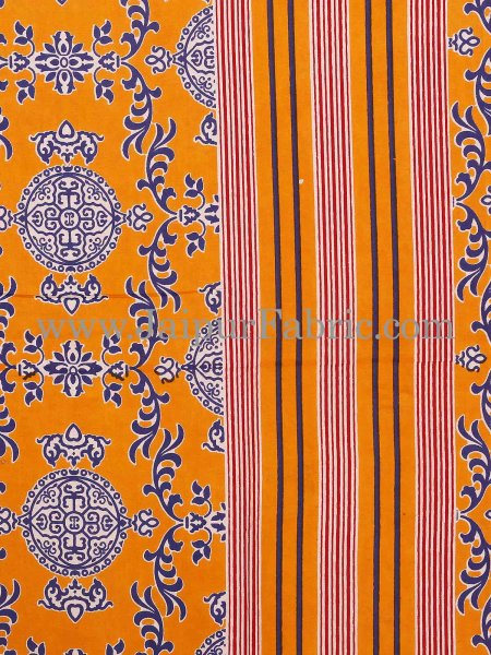 Yellow Border Yellow  Base Mandana Print Cotton Double Bed Sheet
