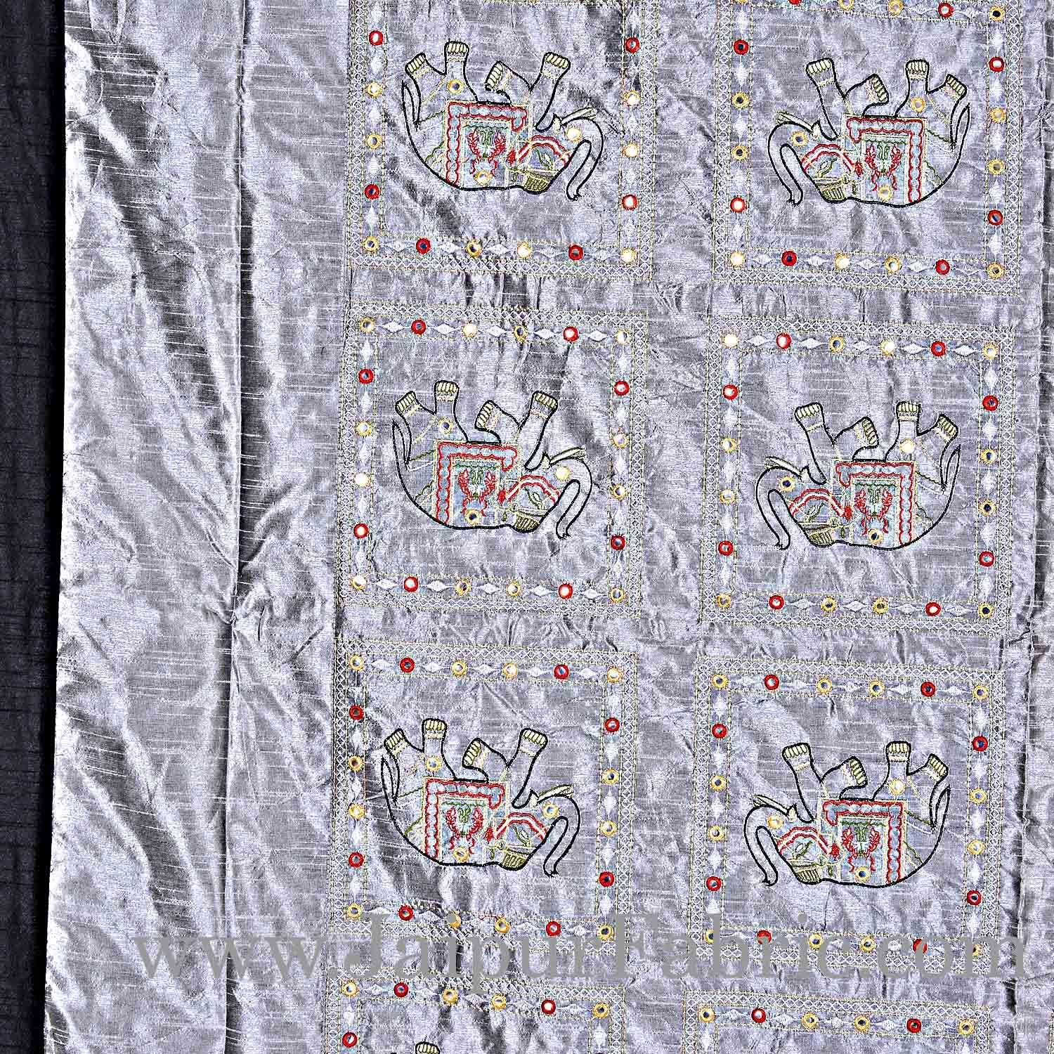 Gray Elephant  Zari Embroidered and Mirror Work Silk Double Bed Sheet