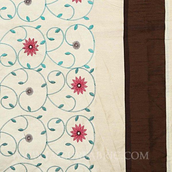 Light Brown Rajwada Silk Double Bedsheet