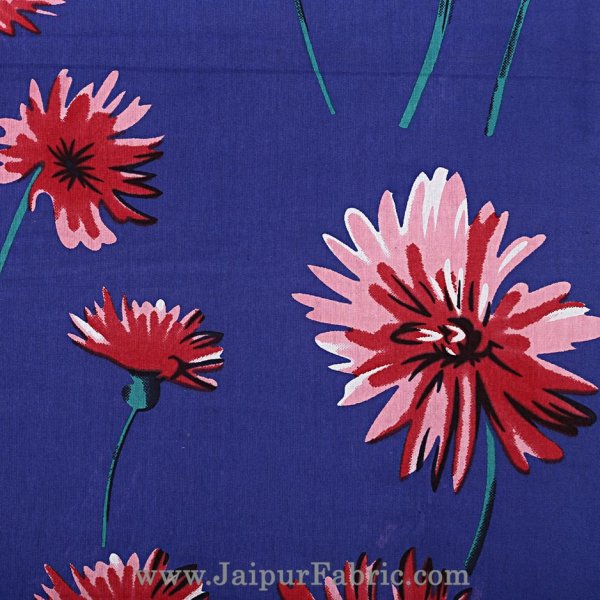 Sun Flower Double Bedsheet Blue Color With 2 Pillow covers