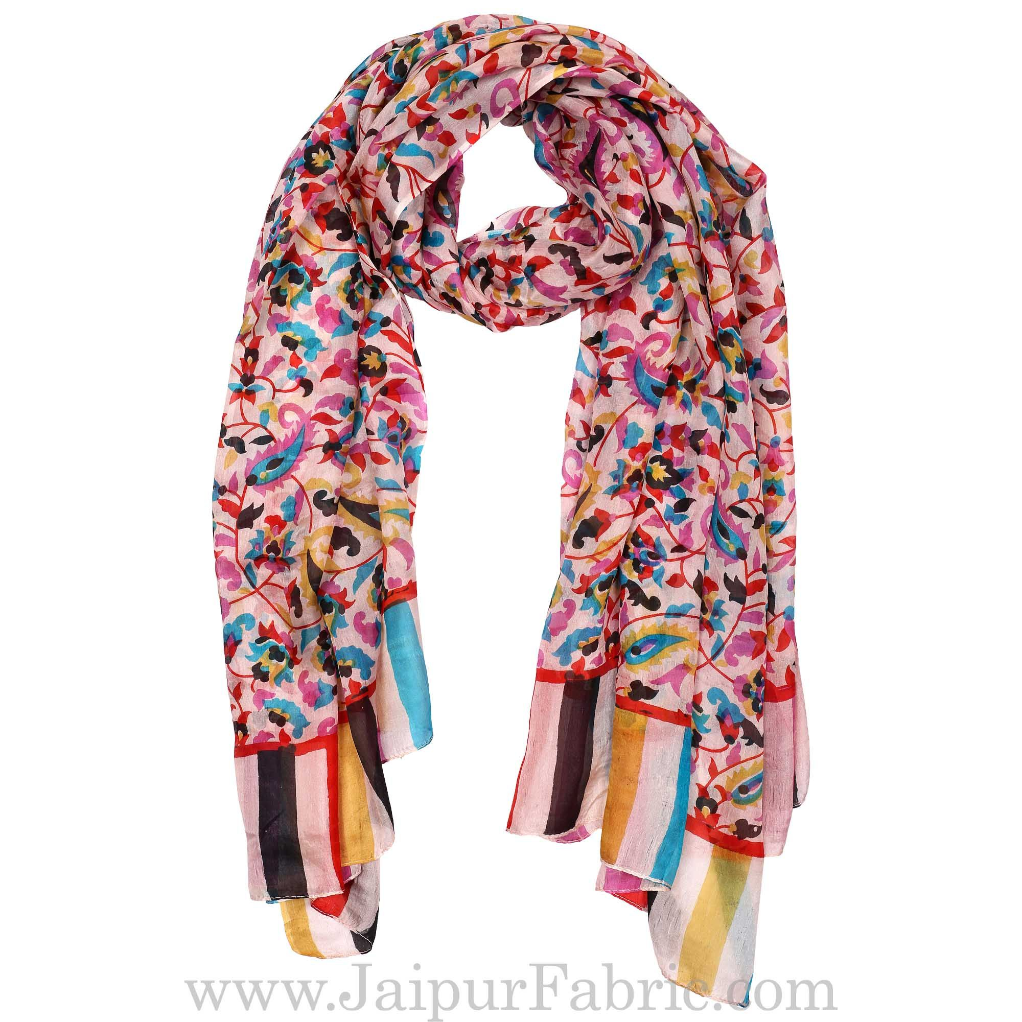 Silk Scarf Multi Color Border Leaf And Branches design