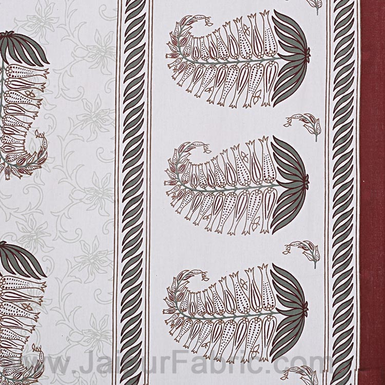 Double bedsheet Coffee Brown Water Plant  Print