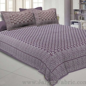 Aura Grey Hearts Double Bedsheet With 2 Pillow covers