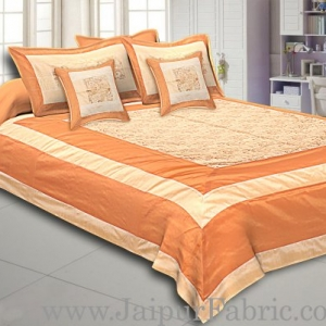 Light Brown Border Light And Cream Shining Fabric With Embroidery Double Bedsheet