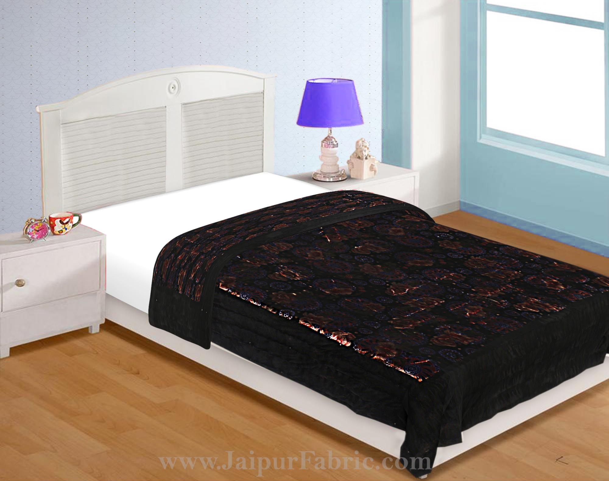 Velvet Cloth Single Bed Quilt Jaipuri Razai Dark Brown Shaneel Rajai by Jaipur Fabric