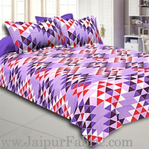 Purple Geometry Design Cotton Double Bed Sheet