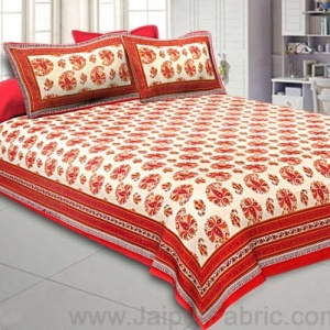 Flourishing Radiant Red Paisley Double Bedsheet