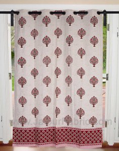 Magenta Pink Floral Bouquet Cotton Grommet Curtain