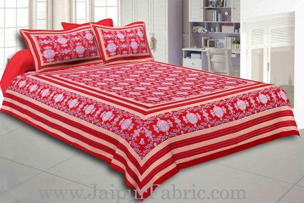 Maroon Border Maroon Base Mandana Print Cotton Double Bed Sheet