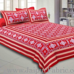 Maroon Border Maroon Base Mandana Print Cotton Double Bed Sheet