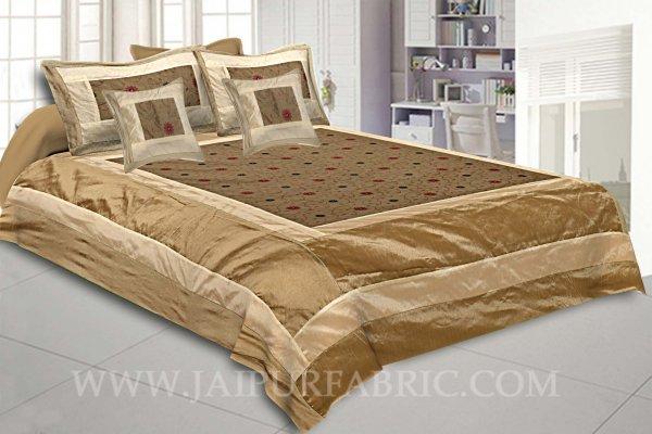 Natural Beige Rajwada Silk Double Bedsheet