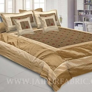 Natural Beige Rajwada Silk Double Bedsheet