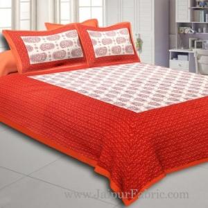 Orange Border Cream Base Kerry Boota Print Cotton Double Bed Sheet