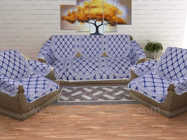 Navy Blue Superfine Cotton Block Print Sofa Set Cover