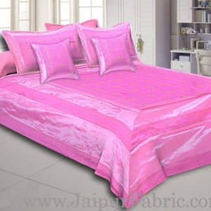 Pink Rajasthani Zari Embroidered Lace Work Silk Double Bed Sheet
