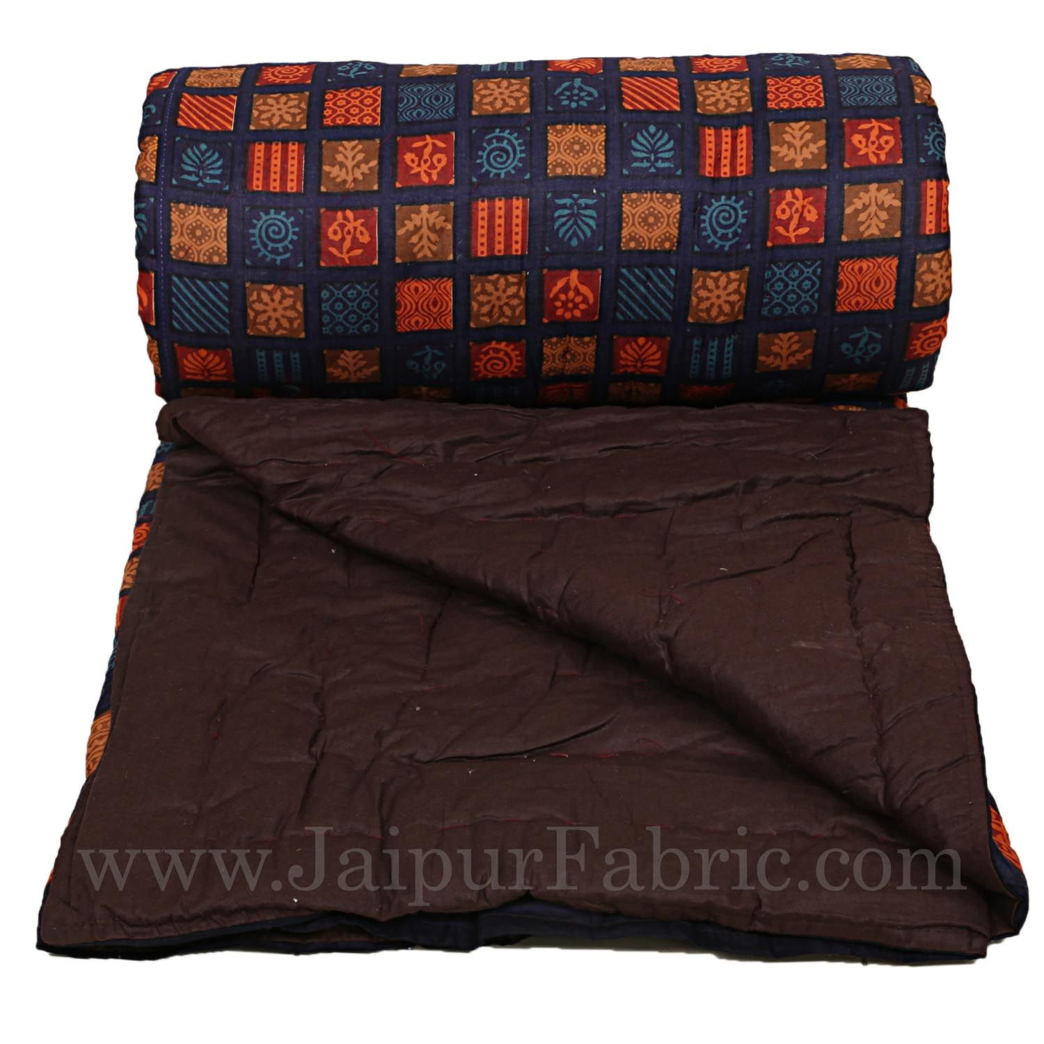 Cotton Double Quilt/Rajai Spangle Jaipuri Hand Crafted Dabu Print