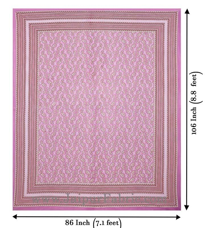 Paisley Double Bedsheet Pink border in super fine cotton with 2 Pillow Covers