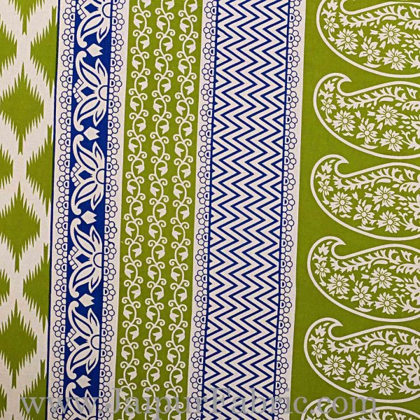 Double Bed Sheet  Green border With paisley Print Fine Cotton