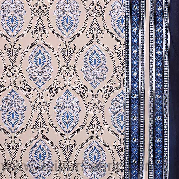 Double Bedsheet Rangoli Print Blue Border Fine Cotton