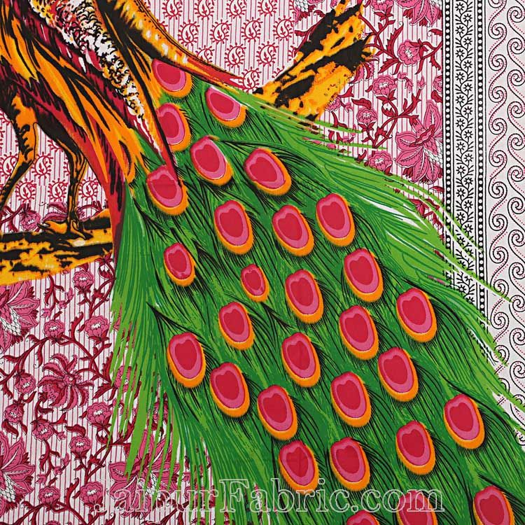 Pink Border Pink and Green Two Large Peacock Pigment Print Cotton Double Bedsheet