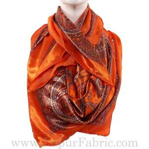 Silk Scarf Orange Border Paisley Print