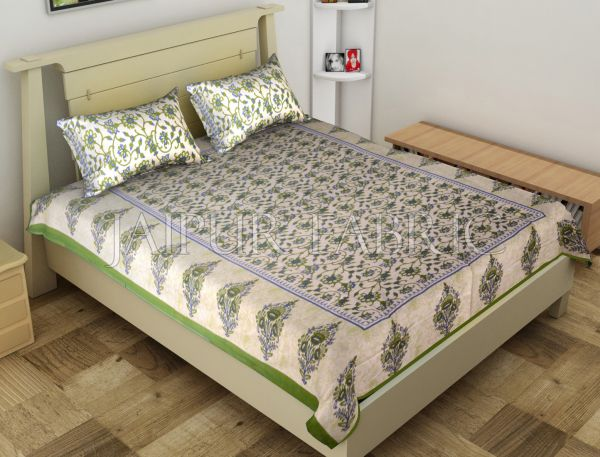 Green Border Anthemion Pattern Cotton Single Bed Sheet