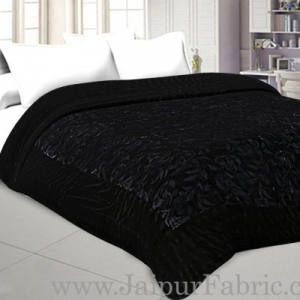 Jaipuri Double Quilt/Rajai  Hand Crafted Black Floral  Print Velvet