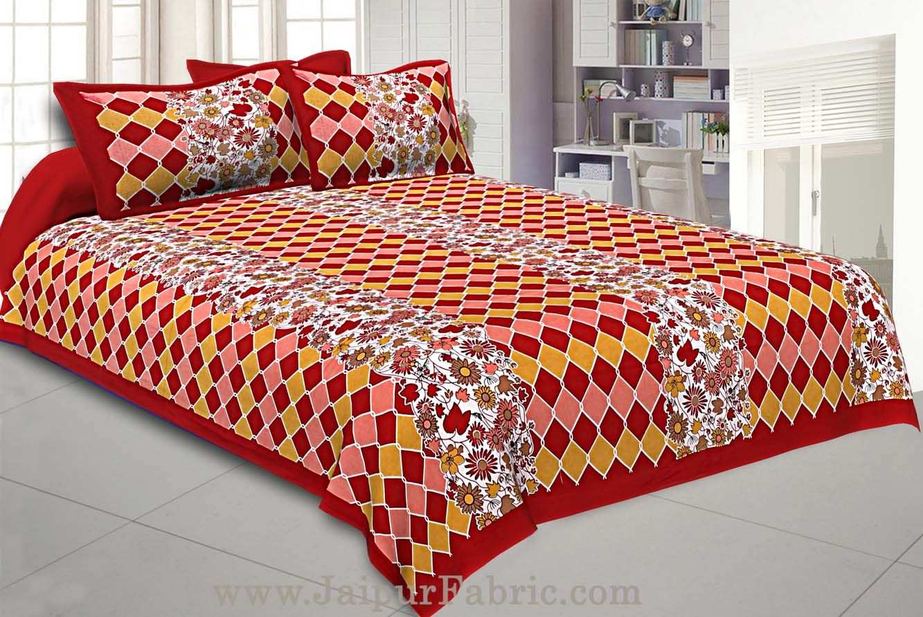 Floral Double Bedsheet Maroon border with 2 Pillow Covers