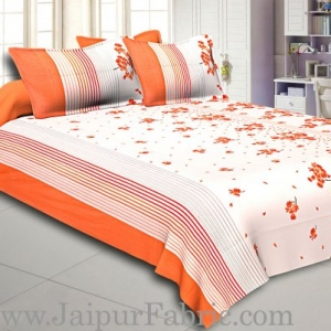 Orange and Black Stripes Floral Print Cotton Double Bed Sheet