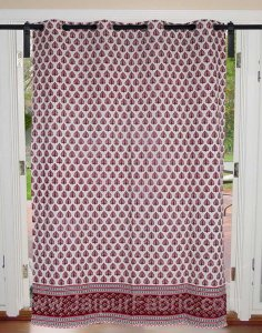 Magenta Pink Floral Geometric print Cotton Grommet Curtain