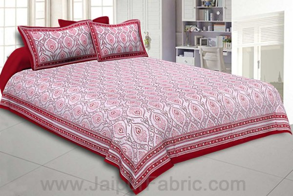 Double Bedsheet Rangoli Print Red Pink Border Fine Cotton