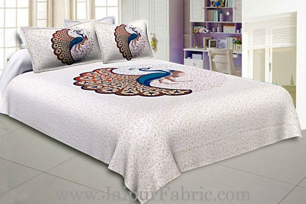 Twill Cotton Bedsheet Dancing Peacock
